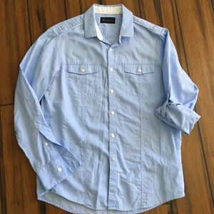 Men's soft blue 100% cotton shirt size M